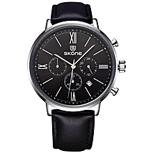 SKONE Brand Men's Genuine Leather Strap Sport Watches Multi-function Quartz Wristwatches 393203 BDZ