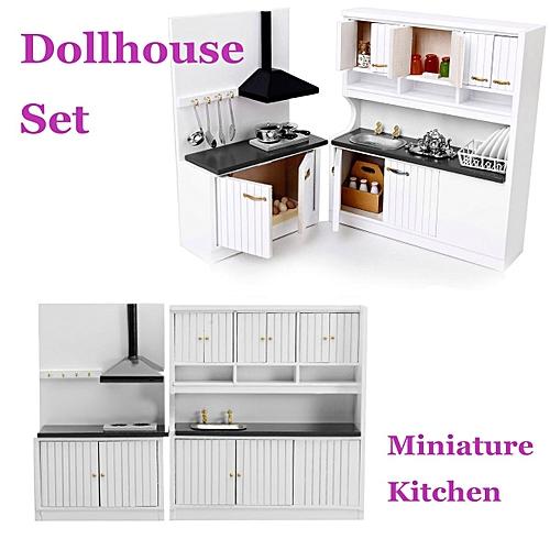 Kitchen Dollhouse Furniture | Dollhouse Miniature Burlywood Integrated Kitchen Furniture Set 1 12 Scale Model