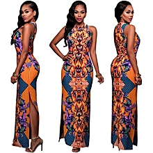 Womens African Print Loose Round Neck Dress Long Maxi Dress