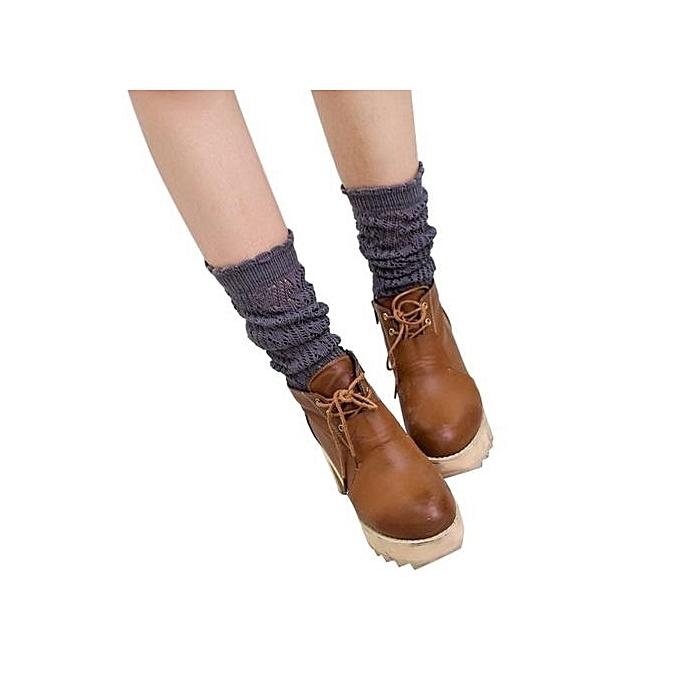 e39462add Ladies Women Thigh High Over Knee Socks Long Cotton Stockings Gray