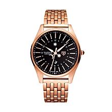 Men Fashion Steel Strap Band Quartz Wrist Watch(Black)