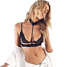 Women Translucent Underwear Sheer Lace Strap Lingerie Bra Top Bustier BK L-Black