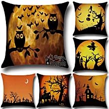 Halloween Bat Owl Pattern Pillowcase Cotton Linen Throw Pillow Cushion Cover Seat Home Decoration