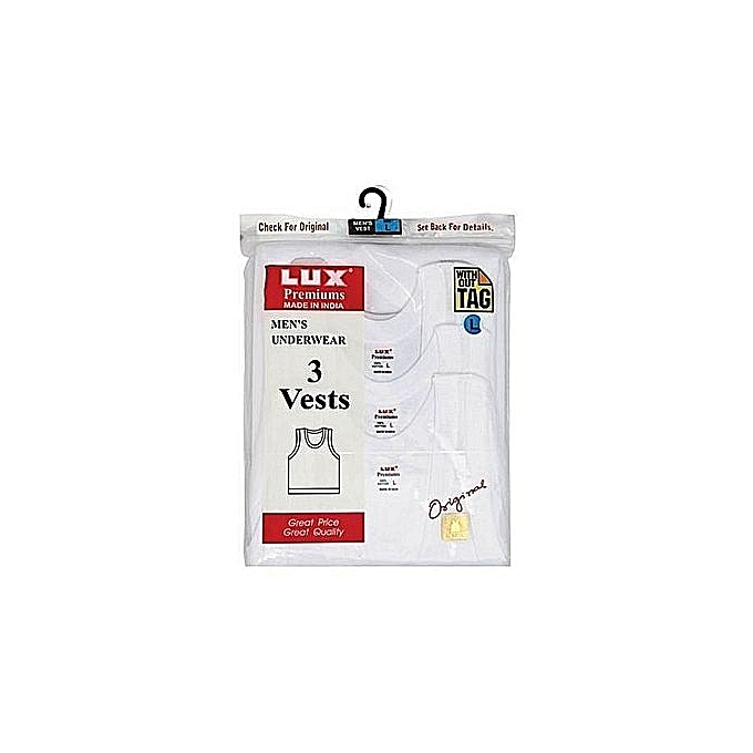White 3 In 1 Lux Premium Cotton Comfortable Vest + Free Pen