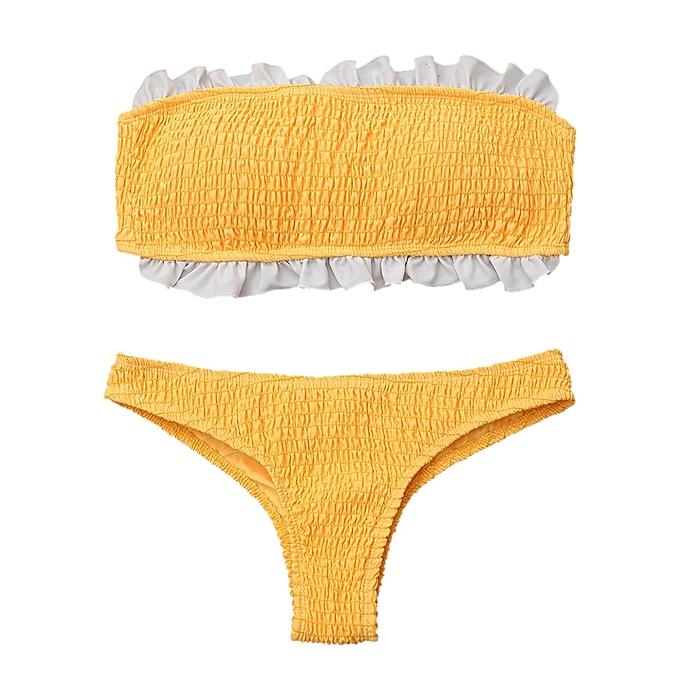 db42f432ce169 ZAFUL Ruffles Bandeau Smocked Bikini Top And Bottoms - YELLOW   Best ...