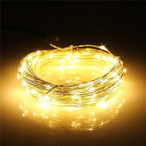 10M 100 LED Silver Wire String Fairy Light Battery Chirstmas + Remote  Controller Warm White