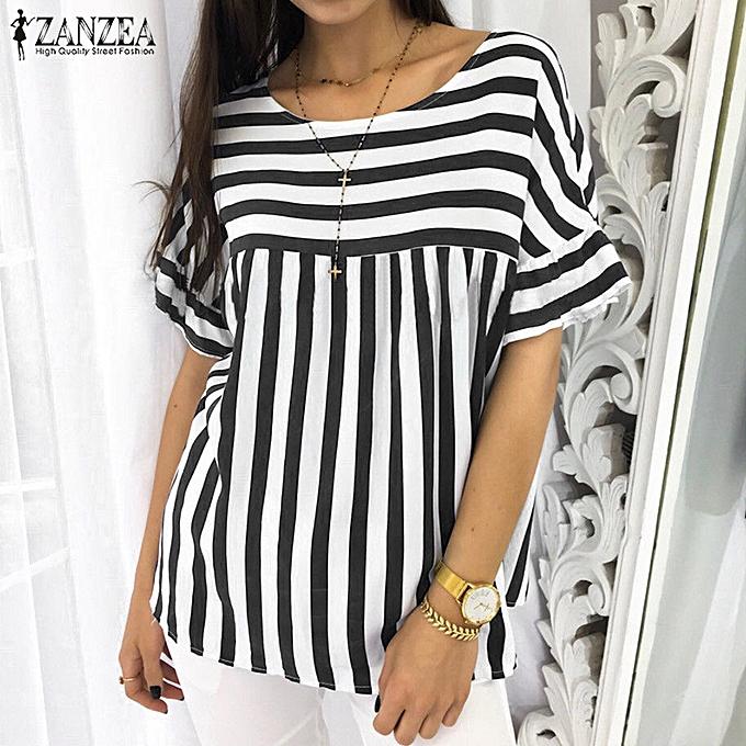 54445e3fd Womens Summer Baggy Striped T-shirt Round Neck Short Sleeve Tops Blouse