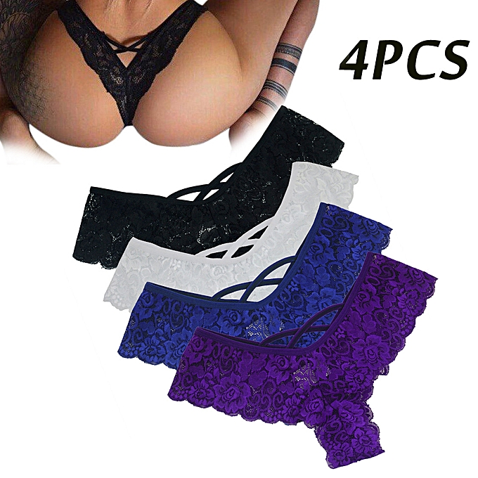 1cb4c65324bb3 Koadong Shop 4PC Sexy Women Lace Flowers Low Waist Underwear Panties  G-string Lingerie Thongs