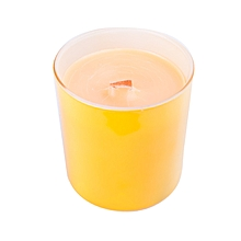 Yellow glass, wooden wick scented candle