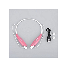HV800 Sport Stereo Bluetooth Headset Wireless Headphone Earphone Neckband Style Earphones Bluetooth Cellphone- Pink