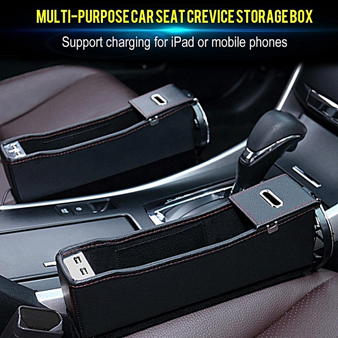 Car Seat Crevice Storage Box Organizer Bag Cup Drink Phone Holder USB Charging Coin Case