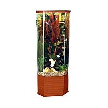 Trapezoid Tower Aquarium with live fish- Wooden Base Appearance