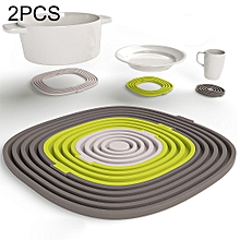 2 PCS Creative Three PCS / Sets Kitchen Silicone Placemat Table Mats High Temperature Insulation Mat