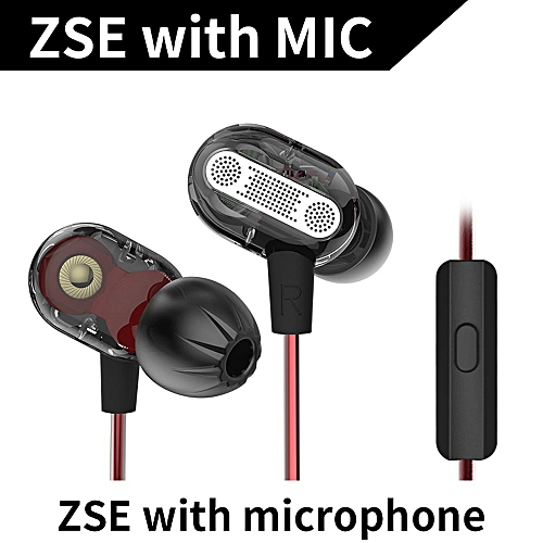 KZ ZSE 3.5mm Dynamic Dual Driver Earphone In Ear Headset Music Headphone Noise Isolating Sports Earbuds with Microphone   XXZ-Z