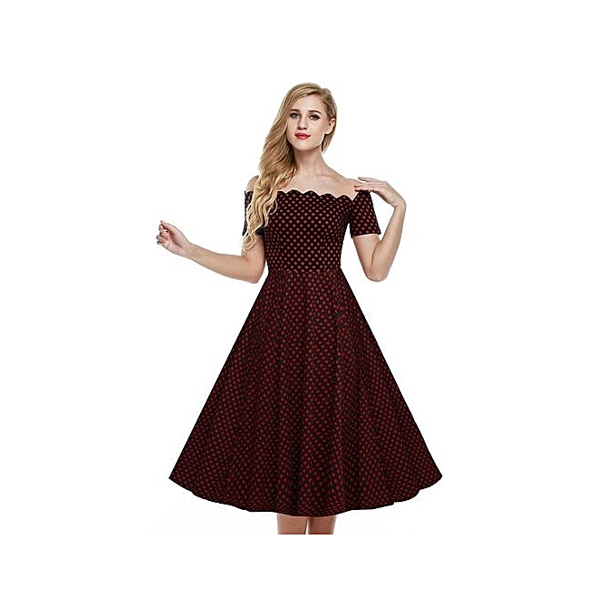 921253f41e51 TOPRANK ACEVOG Retro Women Off Shoulder Cap Sleeve Plain Swing Dress ...