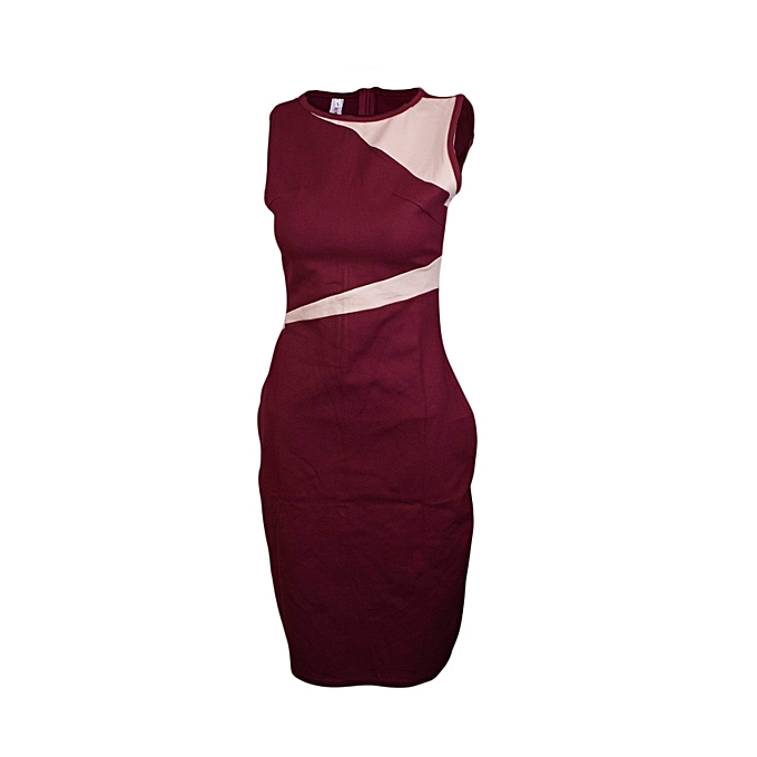 Buy Generic Maroon Official/Casual Bodycon Dress + FREE Watch @ Best ...