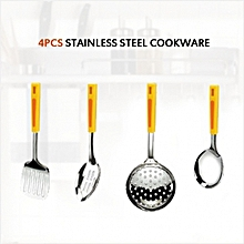 4 Pieces Cooking Spoons, High Quality Stainless Steel Spatula, Serving Spoon, Soup Ladle, Skimmer, Use For Home, Kitchen and Restaurant