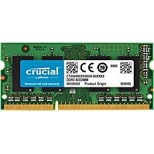 Crucial 8GB Single DDR3/DDR3L 1600 MT/S (PC3-12800) Unbuffered SODIMM 204-Pin Memory
