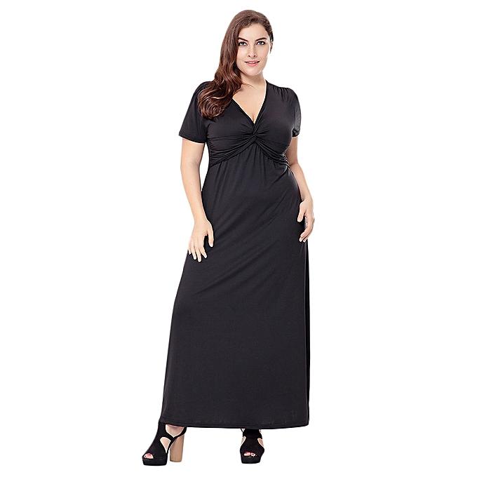 9cc96b64e Fashion Trendy Plunge Neck Short Sleeve Plus Size Women Maxi Dress ...