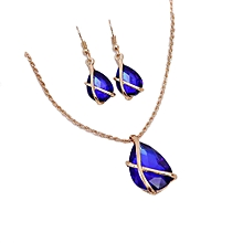 Women Fashion Big Artificial Gemstone Pendant Necklace Drop Earrings Set