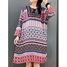 Women Vintage Ethnic Style Long Sleeve Floral Dress