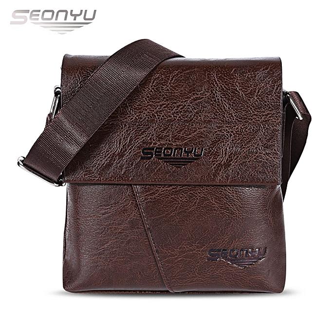 c22407d2428 Leadsmart SEONYU Business Vertical Style PU Leather Half Flap Shoulder  Crossbody Bag for Men