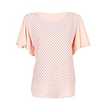 Women Light Orange / Pink Polka Dot Double Layered Casual Chiffon Blouse
