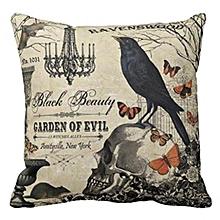 Halloween Soft Black Bird Pattern Pillowcase Cotton Linen Throw Pillow Cushion Cover