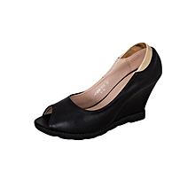 Black Women's Peep Toe Contoured Wedge Heel