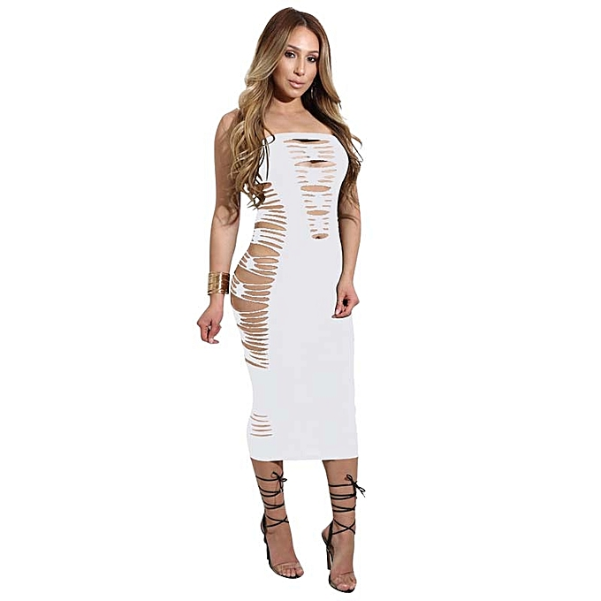 c86cd9b616c9 Summer Womens Dress Club Party Bandage Runway Bodycon Hollow Out Dress Off  Shoulder Strapless Outfits Tunic Dresses Vestidos Curto - white