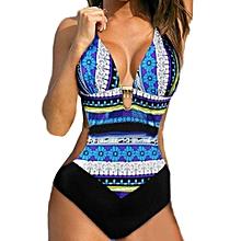 koaisd Women Push-Up Bikini Printed Bohemia One Piece Swimwear Swimsuit