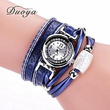 Women Fine Leather Band Winding Analog Quartz Movement Wrist Watch-Blue