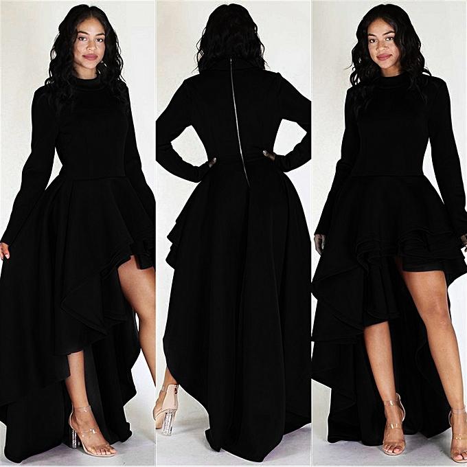 Buy Fashion Xiuxingzi Women Long Sleeve High Low Peplum Dress