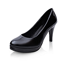 9cm Black Women Formal Thin Heels Pumps Shallow Round Toe Super High Heels OL Office Shoes With Platform For Lady (Matte Black)