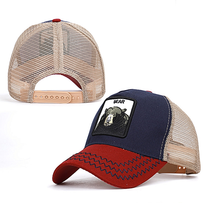 e3ce7d5b6 Embroidered Baseball Caps Men's Women's Universal Adjustable High Quality  Outdoor Shade Animal Dad Truck Driver Mesh hats(Wine-BEAR)