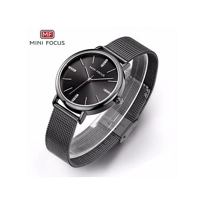 96189dc2f65 MINIFOCUS Luxury Brand Fashion Women Stainless Steel Mesh Rhinestone Wrist  Watch Ladies Clock High Quality Quartz