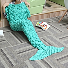 180x90 Yarn Knitting Mermaid Tail Blanket Wave Stripe Warm Bed Mat Super Soft Sleep Bag
