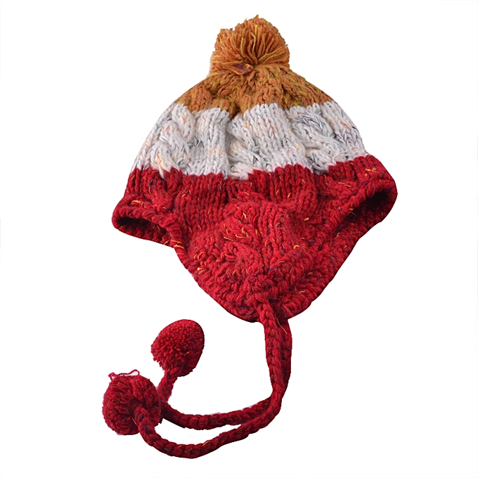 73575efc78a ... singedanWomen Fashion Keep Warm Winter Hats Knitted Wool Hemming Hat RD  -Red