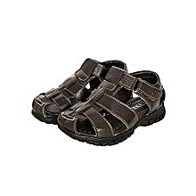 Dark Coffee Open Sandals With Side Velcro Straps