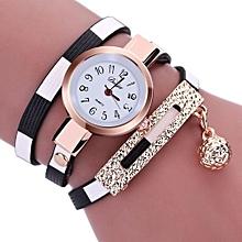 Duoya Women's Wrist Watch  Fashion Women Charm Wrap Around Leatheroid Quartz Wrist Watch @Black