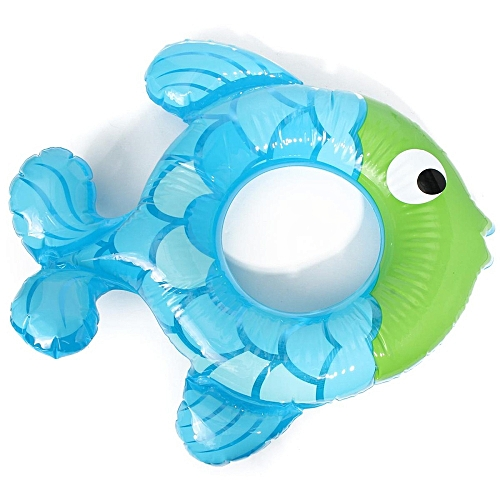 Fish-shaped Inflatable Baby Swimming Ring Swim Bath Pool Float Toy Blue Purple Blue