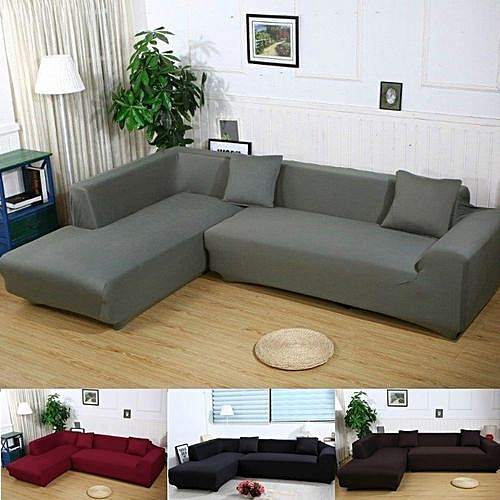 L Shape Stretch Elastic Fabric Sofa Cover Sectional /Corner Couch Covers  Decor