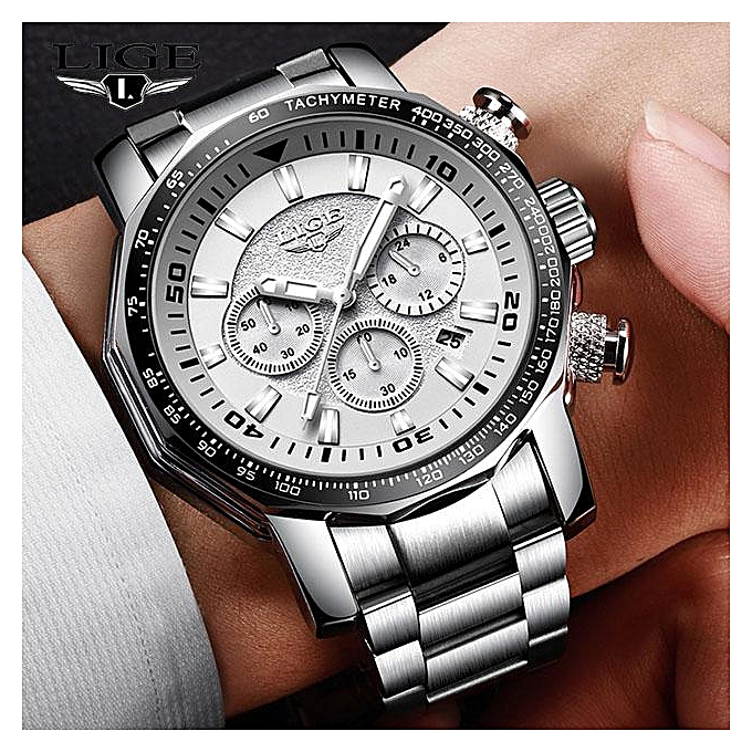 f935a61de0f Mens Watch Big Dial Military LIGE Chronograph Top Brand Luxury Fashion Men  Waterproof Sport Quartz Wristwatch