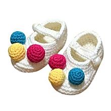 Baby Infant Girls Crochet Knit Socks Crib Shoes 0-12 Months White