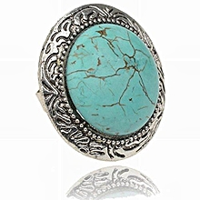Adjustable Vintage Tibet Silver Plated Natural Turquoise Round Finger Ring