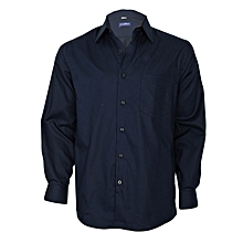 Marine Blue Long Sleeved Slim Fit Shirt