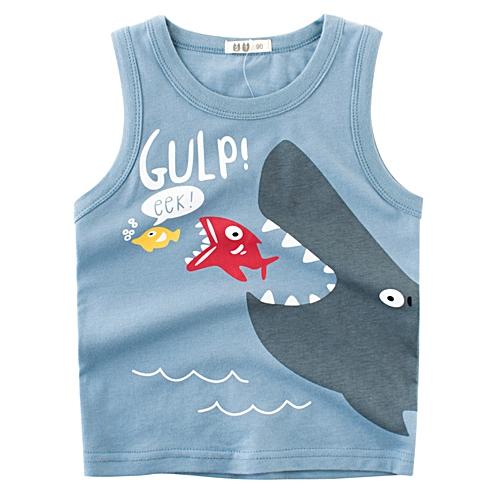 ea6918b0590dc Generic Boy Sleeveless Cotton Tank Tops Round Neck Summer Kids Clothes Cute  Cartoon Fish Printing Vest Blue 120