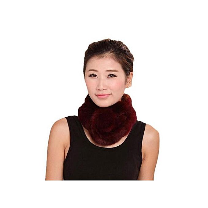 be65f24b6ef Hiaojbk Store Women Winter Scarf Lady Casual Fur Scarves Fur Ball Velvet  Scarf -Red