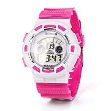 HONHX Africashop Watch  Fashion Boy Girl Child Kid Sport Waterproof LED Light Analog Digital Wrist Watch-Hot Pink