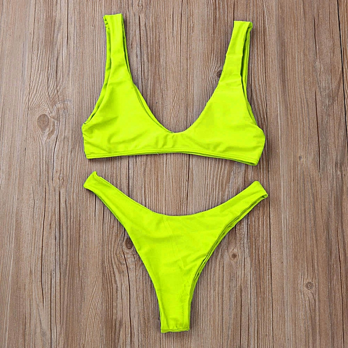 d3292d711c huskspo Women Bikini Set Swimwear Push-Up Padded Solid Bra Swimsuit  Beachwear
